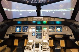 Inside a flight simulator cockpit